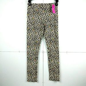 NWT Betsey Johnson Leopard Brushed Knit Leggings L